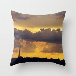 Sunset over Paris Throw Pillow