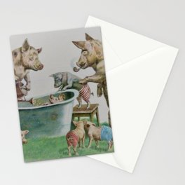 Mummy and Daddy pig washing their piglets Stationery Cards