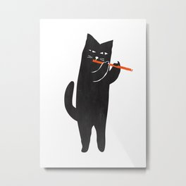Black cat with flute Metal Print