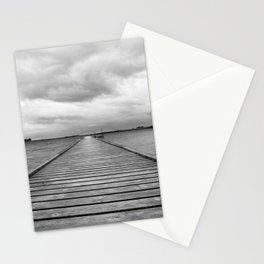 Black and white, Middelfart, Denmark, pier by the water Stationery Cards