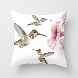 hummingbirds and pink flowers 2 Throw Pillow
