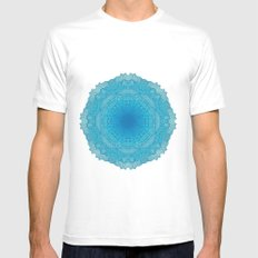 TURQUOISE MANDALA Mens Fitted Tee White MEDIUM