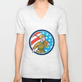 World War Two Soldier American Marching Cartoon Circle Unisex V-Neck