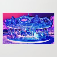 carousel Area & Throw Rugs featuring Carousel Merry-G0-Round Pink Purple by WhimsyRomance&Fun