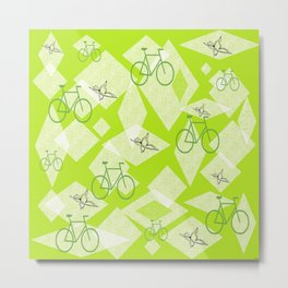 Bicycles and Butterflies Green Metal Print