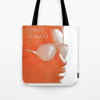 stevie nicks Tote Bags featuring Stevie Wonder by Nina Bryant Studio