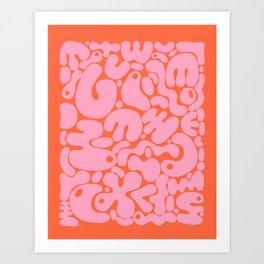 millennial pink blobs Art Print