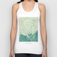 vintage map Tank Tops featuring Toronto Map Blue Vintage by City Art Posters