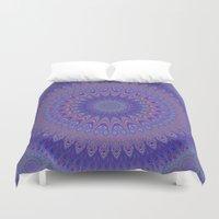 mandala Duvet Covers featuring Purple mandala by David Zydd