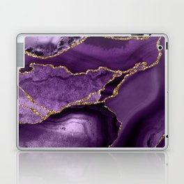 Glamour Purple Bohemian Watercolor Marble With Glitter Veins Laptop & iPad Skin