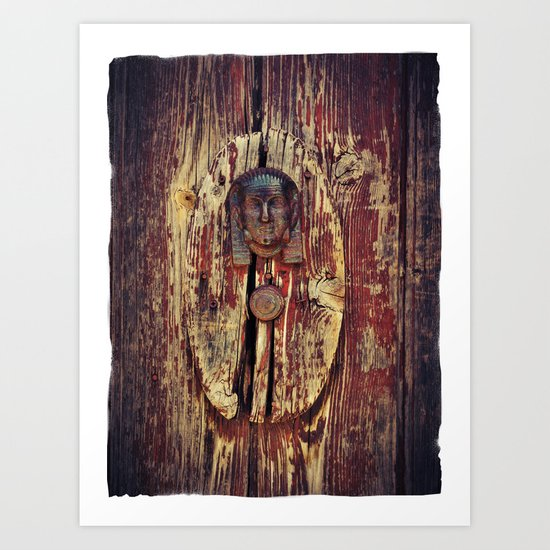 weathered wooden door with agypt door knocker Art Print