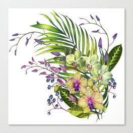 Bouquet, Orchid, Bud, Leaf Clipart, watercolor, handpainted, floral, flower, design, style, troical Canvas Print