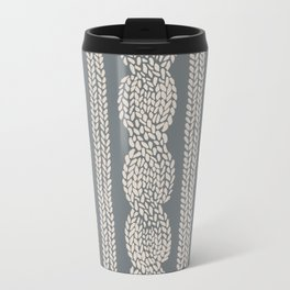 Cable Knit Grey Metal Travel Mug
