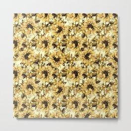 Sunflowers on Yellow Metal Print