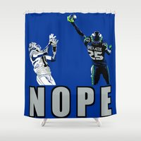 nope Shower Curtains featuring NOPE by Gold Lining