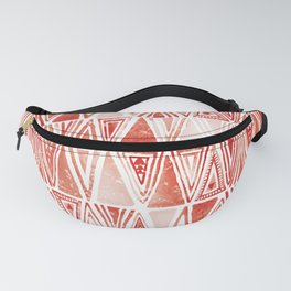 Modern Coral Tribal Ethnic Triangles Pattern Fanny Pack