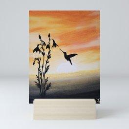 Hummingbird Silouette Painting Mini Art Print