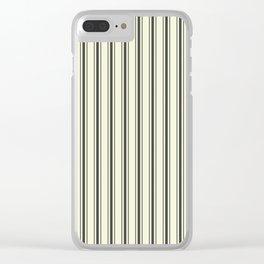 Mattress Ticking Wide Striped Pattern in Dark Black and Beige Clear iPhone Case