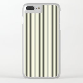 Mattress Ticking Wide Striped Pattern in Dark Black and Beige Clear iPhone Case