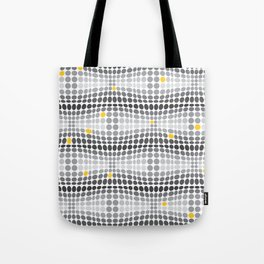 Dottywave - Grey and yellow wave dots pattern Tote Bag