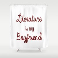 literature Shower Curtains featuring literature is my boyfriend red by Beautiful Bibliophile's Boutique