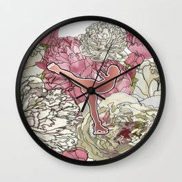 Rose Gold Figure Skater on Peonies Graphic Design Wall Clock