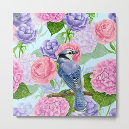 Blue jay and flowers watercolor pattern Metal Print