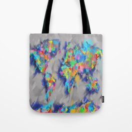 world map brush strokes Tote Bag