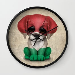 Cute Puppy Dog with flag of Hungary Wall Clock
