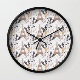 French Buldog with Croissant Hand-Painted Eiffel Tower Illustration Wall Clock