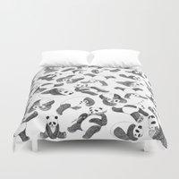 pandas Duvet Covers featuring Pandas by Karen Vaughan