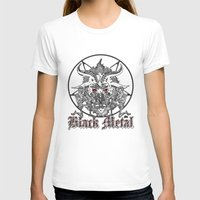 pentagram T-shirts featuring Black Metal Baphomet Pentagram  by Scott Jackson Monsterman Graphic