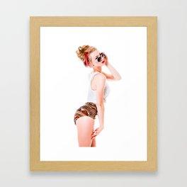 Modern Beach Pinup Framed Art Print