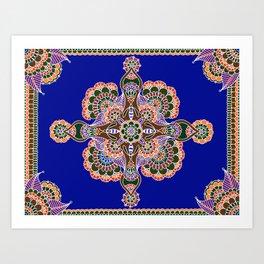 Bee Mandala Blue Art Print
