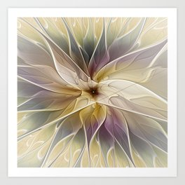 Floral Fantasy, Abstract Fractal Art Art Print