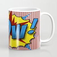lichtenstein Mugs featuring Pop Art Pow in comic Lichtenstein style by Suzanne Barber