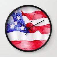 american flag Wall Clocks featuring American Flag by Bridget Davidson