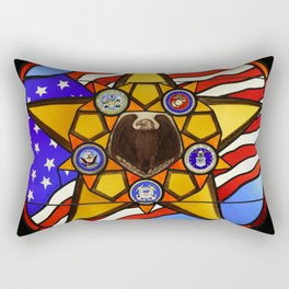 United States Armed Forces Glass Mosaic Rectangular Pillow