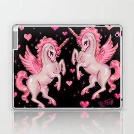 Pink Unicorn Pegasus on Black Laptop & iPad Skin