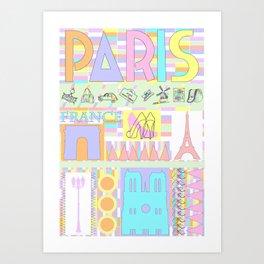 Kitsch Paris Shopping Trip   Art Print