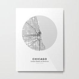 Chicago Circle Map Metal Print