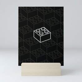 2x2 Legoblock Black pattern Mini Art Print