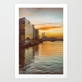 Sunset over Chelsea Bridge 02A - Vintage (everyday 13.01.2017) Art Print