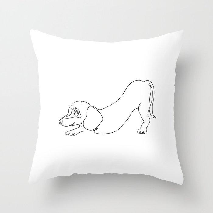 One line Dachshund Downward Dog Throw Pillow