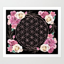 Flower of Life Rose Gold Garden on Black Art Print