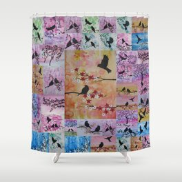 the serenity series- patchwork of sakura and birds -watercolor and acrylic- by Catherine Jacobs Shower Curtain