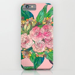 Girly Pink Watercolor Floral Hand Paint iPhone Case