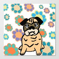 hippy Canvas Prints featuring Hippy Pug  by lindseyclare