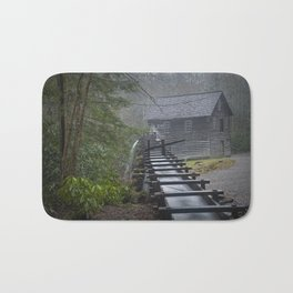The Old Mingus Mill and Flume in the Great Smoky Mountain National Park in Tennessee Bath Mat