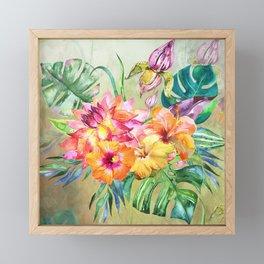Tropical Hibiscus Garden Framed Mini Art Print